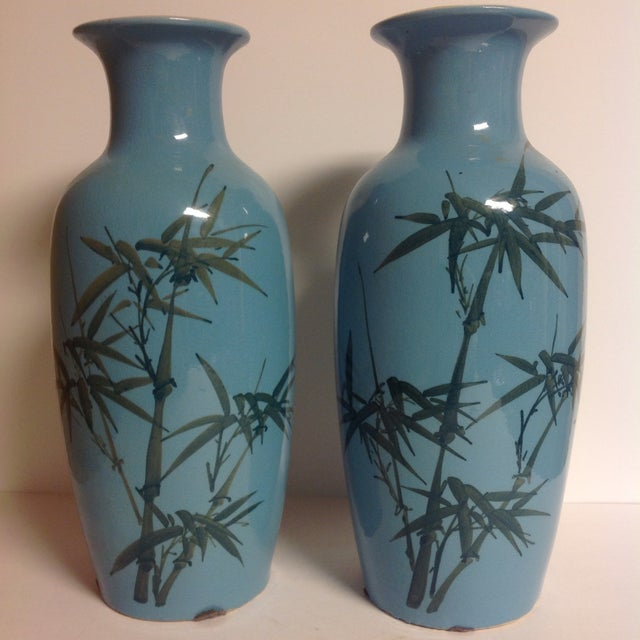 Vintage Japanese Turquoise Vases - A Pair - Image 2 of 5