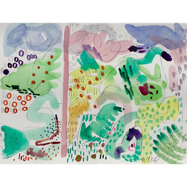 Abstract Butchart Garden Watercolors - Set of 4 For Sale - Image 3 of 6