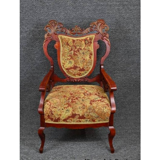 Antique Old World Ornately Carved Shield Back Arm Chair Burgundy Floral Tapestry For Sale - Image 13 of 13