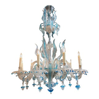 Antique Blue Murano Glass Chandelier For Sale
