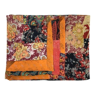 Rug & Relic Orange and Rich Floral Kantha Quilt