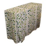 Image of Green Stripe Scion Fabric Skirted Console Table For Sale