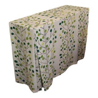 Green Stripe Scion Fabric Skirted Console Table For Sale