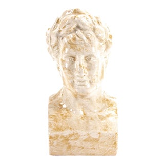 Grecian Style Male Bust in Crackled Ivory Glaze For Sale