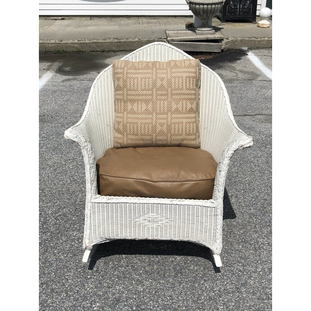 Vintage Heywood Wakefield Wicker Rocker With Hermes Leather Pillow For Sale - Image 13 of 13