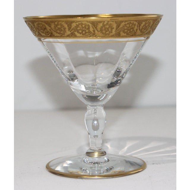 1940s Vintage Champagne Coupes Sherbets Aperitif With Gold Band and Base Rim - Set of 6 For Sale - Image 5 of 13