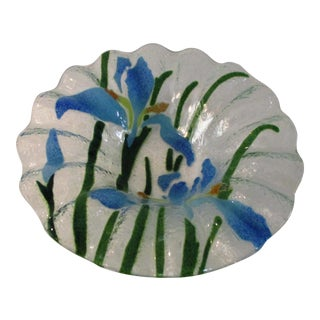 Sydenstricker Fused Glass Blue Iris Berry Bowl For Sale