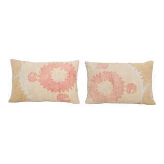 Set Faded Suzani Embroidery Throw Pillow - a Pair For Sale