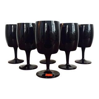 Gorham Reizart Mid-Century Black Amethyst Glasses - Set of 6