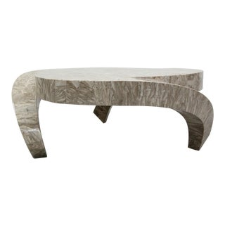 3 Legged Tessellated Stone Tresfoil Coffee Table by Maitland Smith For Sale