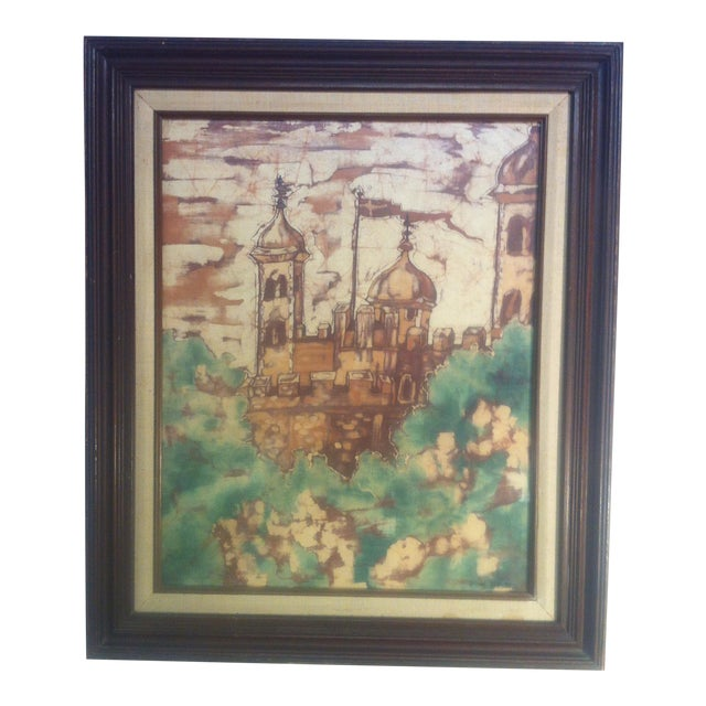 Scandinavian Modern Batik Castle by Ortrud Yates For Sale