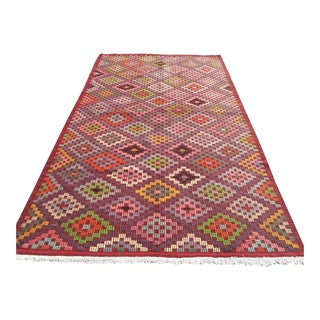 "Vintage Turkish Oushak Kilim Rug-5'6'x9'1"" For Sale"