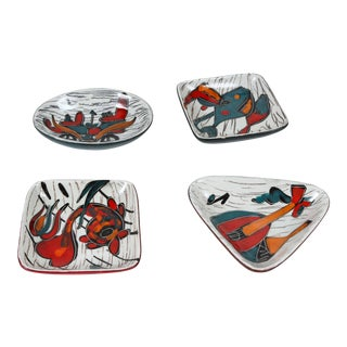 Italian Leather Backed Decorative Ceramic Dishes - Set of 4 For Sale