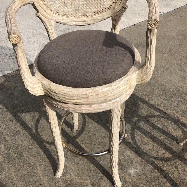 Hollywood Regency Faux Bois Cream Caned Swiveling Stools** - a Pair For Sale - Image 4 of 7
