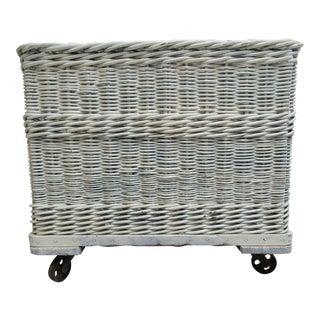 Antique Industrial Wicker Basket Hamper
