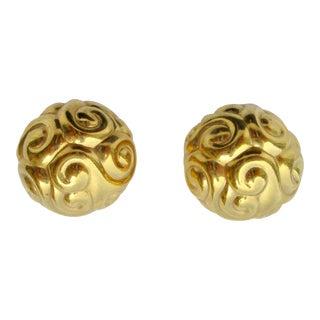 Ciner Gilt Carved Ball Earrings. For Sale