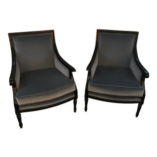 Modern Upholstered French Style Chairs - a Pair For Sale