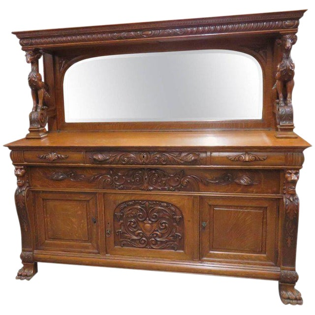 Renaissance Style Sideboard With Superstructure For Sale