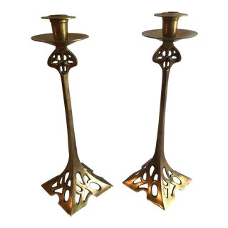 Mid-Century Large Brass Candle Holders - a Pair For Sale