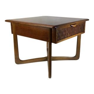 1960s Lane Altavista Mid-Century Modern Basket Weave Side Table For Sale