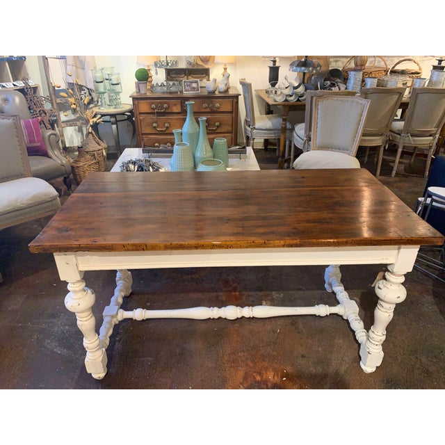Antique farm table from France purchase on our last buying trip in September 2018. The original top made of 2 solid planks...