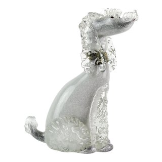 Mid 20th Century Alfredo Barbini Murano Black Gray Gold Italian Art Glass Poodle Dog Sculpture For Sale