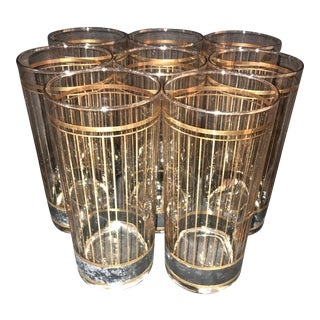 Culver Glass High Ball Mid-Century Glasses - Set of 8