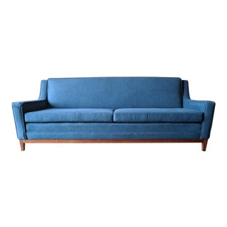Mid Century Reupholstered Sofa With Beautiful and Unique Curved Walnut Base