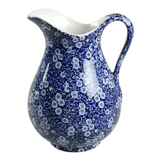 Staffordshire Calico Blue (Crownford Stamp) 128 Oz Pitcher For Sale