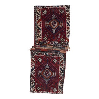 Traditional Hand Knotted Multicolor Wool Saddlebag For Sale