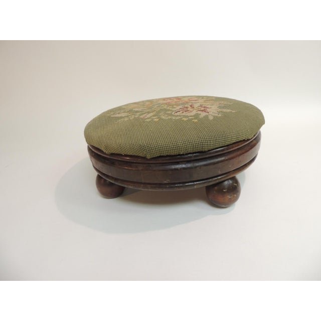 Antique Round Tapestry Upholstered Stool - Image 4 of 4