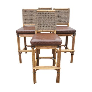 Palecek Bamboo and Leather Bar Stools - Set of 4 For Sale