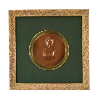 19th Century Susse Freres Bronze Bas-Relief Portrait of Young Lady After Greuze For Sale