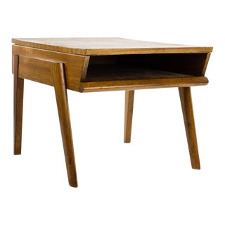1960s Mid-Century Modern Teak Side Table With Pull-Out Tray For Sale