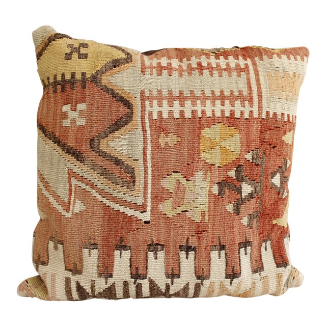 Vintage Turkish Kilim Pillow Multi Color Reds Brown Bohemian Mid Century For Sale