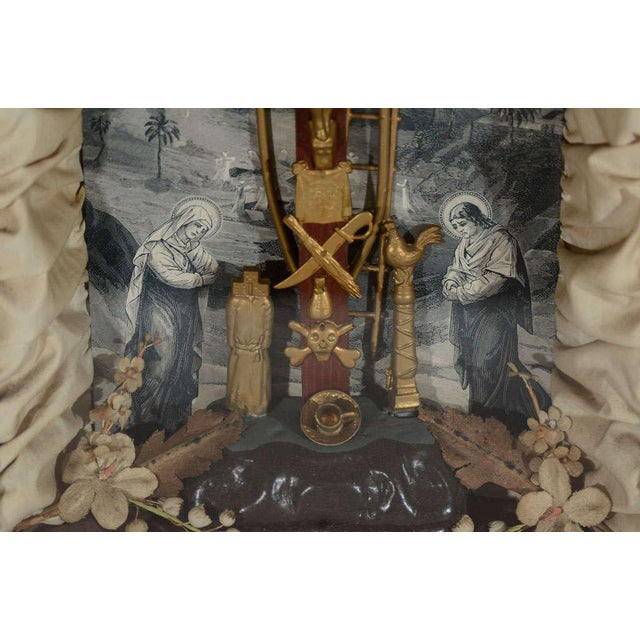 Antique Victorian Religious Shadowbox with Crucifix Scene - Image 7 of 9