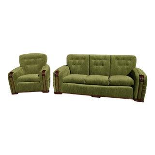 Vintage Art Deco Modern Green Velvet Sofa & Chair - A Pair