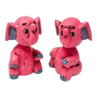 Pair of Mid-Century Japanese Paper Mache Pink Elephant 'Bobble-Head' Banks For Sale