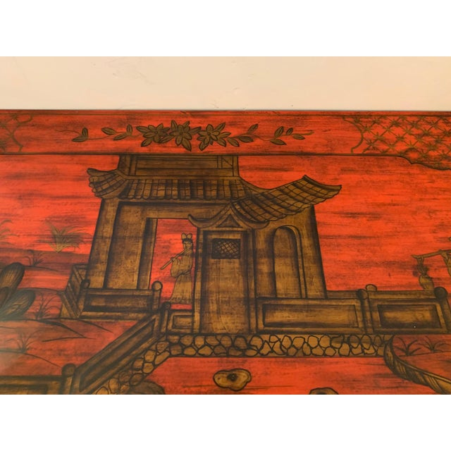 Chelsea House Tomato Red Chinoiserie Chest of Drawers For Sale - Image 9 of 13
