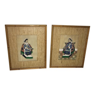 1950's Vintage Chinese Figure Paintings- A Pair For Sale