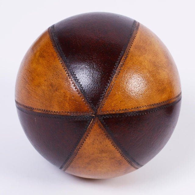 English Six Decorative Leather Balls For Sale - Image 3 of 8