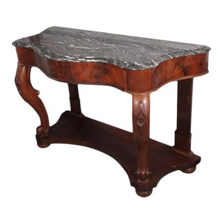 Serpentine Console of Mahogany with Marble Top For Sale