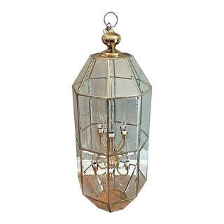 Beveled Leaded Clear Glass & Brass 12 Light Pendant Chandelier For Sale