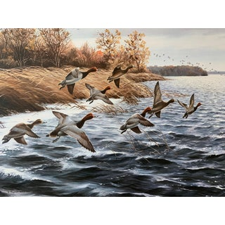 """Along the Shore"" Vintage Goose Lodge Print by Maynard Reece For Sale"