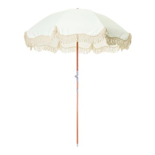 Premium Beach Umbrella - Antique White with Fringe For Sale