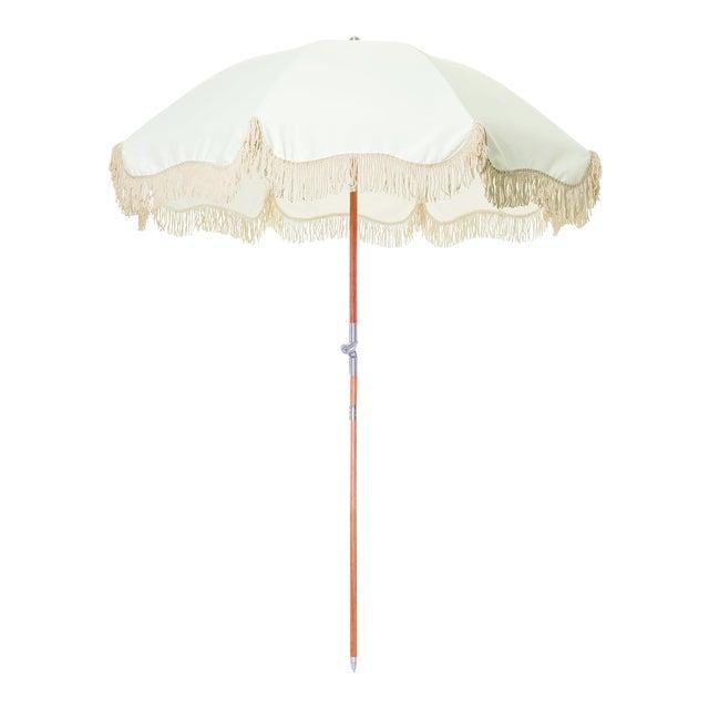 Premium Beach Umbrella - Antique White with Fringe For Sale
