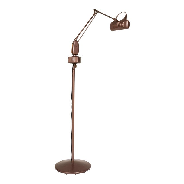 Industrial Articulating Arm Floor Lamp With Magnifier by Dazor For Sale