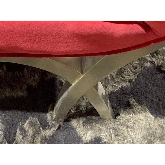 2000 - 2009 Christopher Guy Red Velvet Lounge Chaise For Sale - Image 5 of 6