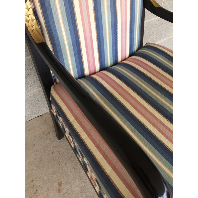 Ethan Allen Dolphin Federal Black/Gold Trim Upholstered Arm Chair For Sale In Philadelphia - Image 6 of 10