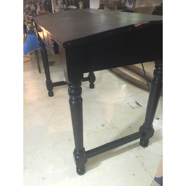 Antique Collections Distressed Black Desk - Image 3 of 4